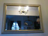 RECTANGULAR BEVELLED LATTICE FROST MIRROR WHITE & GOLD FRAME - 81cm x 61cm - VINTAGE RETRO