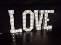 5ft Illuminating Letters, Wedding Sweet Cart, Cast Iron Post Box and Sweet Ferris Wheel to rent