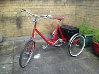 Vintage Pashley Piccolo Adults Red Tricycle Bike 3 speed In amazing condition with back Box