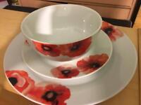 Dinner set Brand new red poppy design from Sainsbury