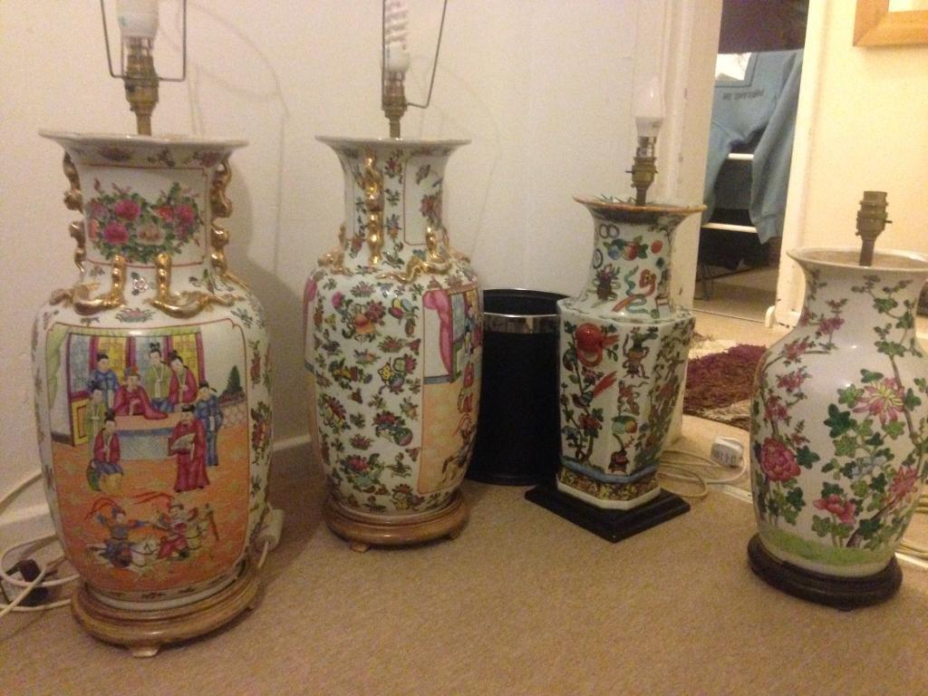 Large Chinese and old lamps vases