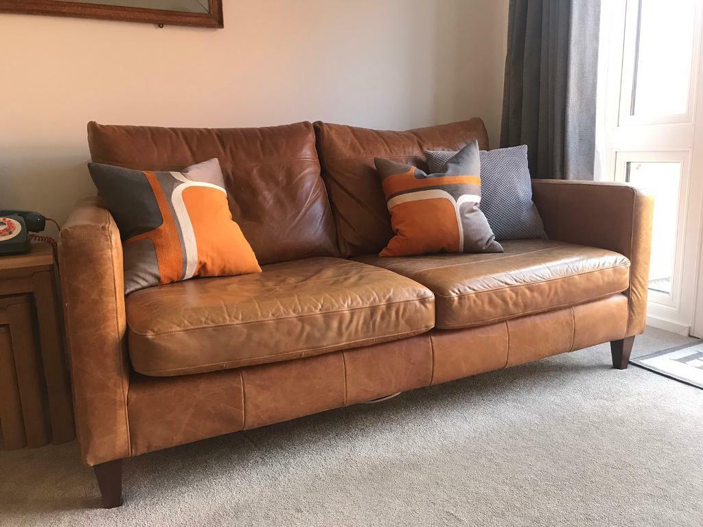 John Lewis Leather Sofa In Northampton Northamptonshire Gumtree