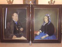 Huge Pair Antique Victorian Portrait Paintings in Oak Frames