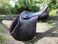 """GFS XCH 17.1/2"""" BROWN LEATHER JUMP SADDLE"""