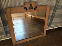 Charming antique mirror with solid wood frame