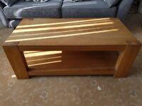 Chunky coffee table. solid oak legs