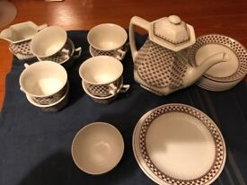 ADAMS Coffee Set- Sharon (Brown Clover) Design -23 piece - Real English Ironstone Wedgewood Pottery.