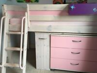 Mid sleeper children's bed with chest of drawers, desk, shelves, mattress and accessories