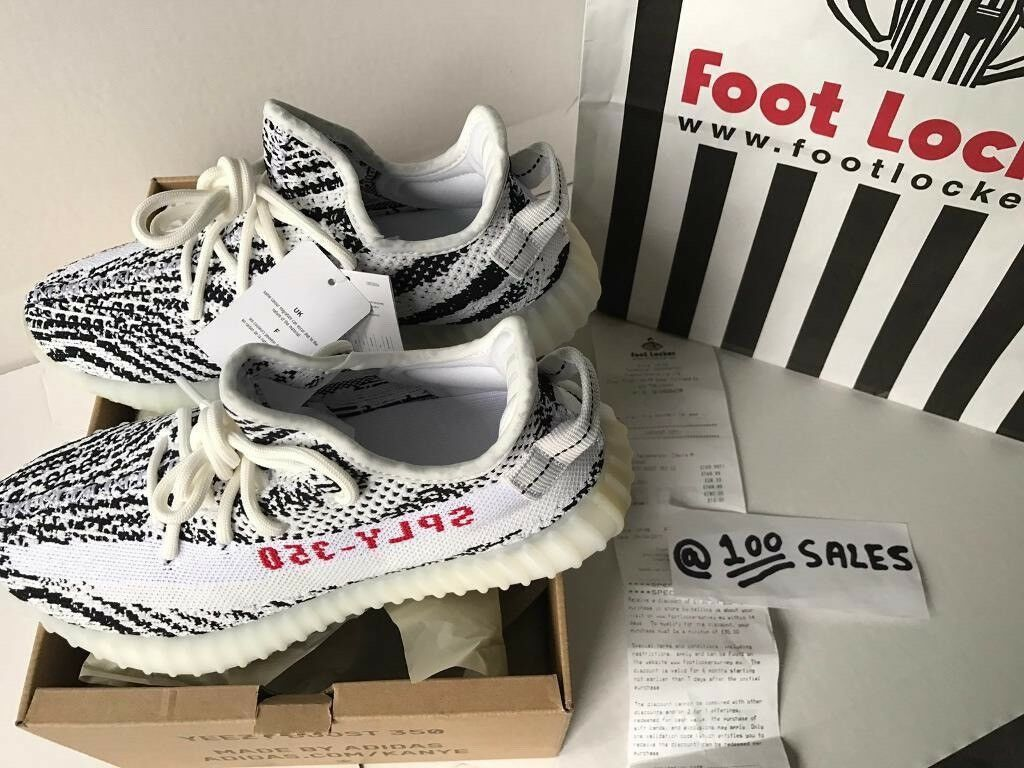 fc7118166 ADIDAS x Kanye West Yeezy Boost 350 V2 ZEBRA White Black UK5.5 CP9654 FOOTLOCKER  RECEIPT 100sales