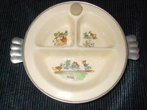 EXCELLO 1940'S PORCELAIN BABY WARMING DIVIDED FEEDING BOWL