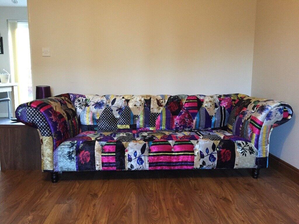 3 Seater Sofa Chesterfield Patchwork Fabric Velvet Anna