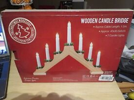 Christmas wooden candle bridge with 7 Lights - Brand New