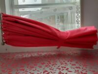 """Plain pink lined curtains 54x 58""""w&tiebacks. With detachable blackout linings"""