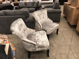 Brand new pair of crushed velvet chairs