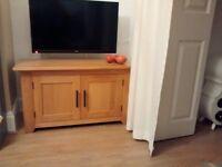 Solid oak TV / cupboard unit