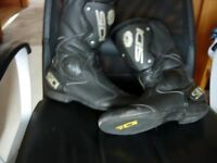 Sidi , motorbike leather boots and tank bag
