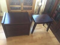 Dark cherry brown dbl bed & new mattress, bedside drawers & dressing table with stool & small shelf