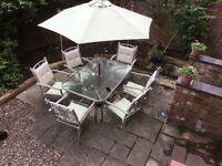 6 seater aluminium patio set.