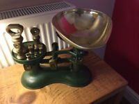 Traditional Cast Iron weighing scales in Green £40 buyer to collect