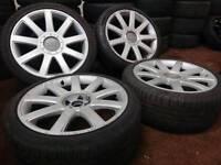 "Genuine OEM Audi TT 18"" 5x100 alloy wheels + 2 tyres vw seat skoda toyota"