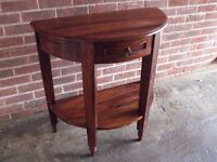 Solid wood semi circular shaped console/hall/telephone/side table