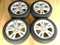 """Mercedes 17"""" Alloy Wheels & Tyres - Like New - Covered 150 Miles"""