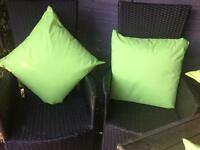 2 garden cushions waterproof lime green 18""