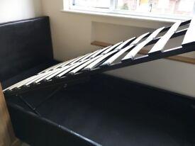 Black 3ft Single Storage Ottoman Gas Lift Up Bed Frame