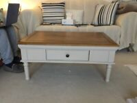 Perfect condition oak top and cream coffee table
