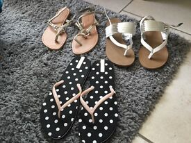 Brand new size 7 - 2 pairs of sandals and 1 pair of flip flops