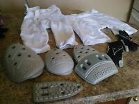 Football training pants, padding. belts and gloves