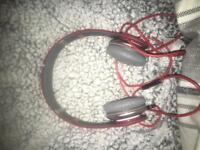 Red beats headphones with case