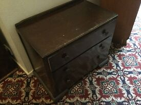 Chest of drawers and dressing table ideal for restoration dark brown wood three drawers in each