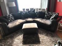 Grey & Black Fabric & Leather Oval Sofa Unit