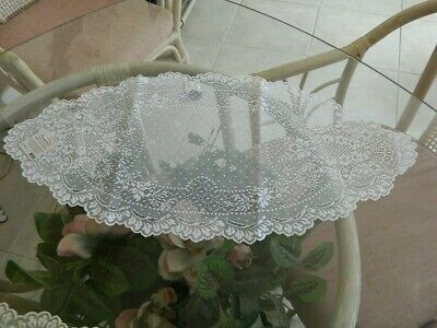 """Heritage Lace Floret WHITE Runner 14"""" X 28"""""""
