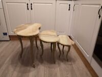vintage cast iron and marble kidney shape nest of tables garden furniture, indoor, conservatory