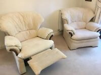 G-Plan sofa, two armchairs and pouffe (Light cream)-excellent condition