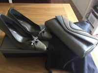 Size 4 shoes and matching handbag. Only worn twice.