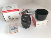 Canon EF 85mm f/1.8 USM Lens mint condition
