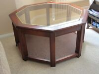 OCTAGONAL COFFEE TABLE MAHOGANY AND GLASS