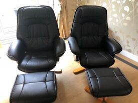 2 recliner chairs with matching footstools in perfect working condition.
