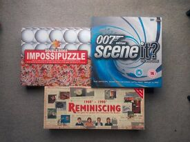 3x Board Games & Puzzle Job Lot - Scene It James Bond Edition, ImpossiPuzzle & Reminiscing