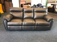LITTLEWOODS LEIGHTON BLACK REAL PURE LEATHER THREE SEATER MANUAL RECLINER SOFA 3 COUCH CHAIR NEW