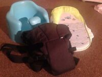 BABY BUNDLE with Carrier, Bath seat and Bumbo -GREAT CONDITION, smoke and pet free home