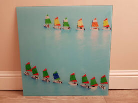 Sailing boats glass picture wall art 70cmx70cm