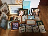 large job lot of pictures, frames and canvas