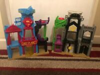 Various imaginext buildings and figures. Also some ninja turtle. Selling as a bundle! Well used.