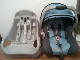 BABY CAR SEAT, GRACO WITH SUREFIX BASE, UNIVERSAL, SUITABLE FROM NEW BORN TO 15 MONTHS OLD
