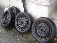 4X Nissan micra wheels and tyres size 165 x 60 x 14 2 tyres only 6 months old £20