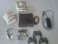 XBOX360 250GB with 4 controllers + 16 games + Kinect